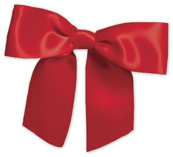 Red Pre-Tied Satin Bows, 7/8