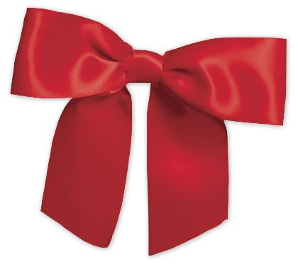 "Red Pre-Tied Satin Bows, 7/8"" Ribbon x 3"" Bow Width"