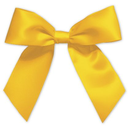 "Gold Pre-Tied Satin Bows, 7/8"" Ribbon x 3"" Bow Width"