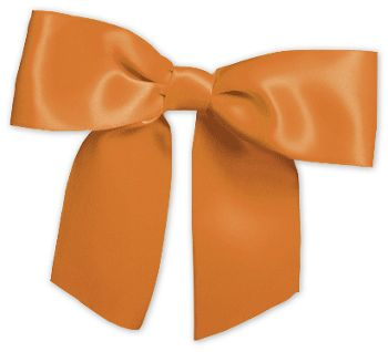 Orange Pre-Tied Satin Bows, 7/8