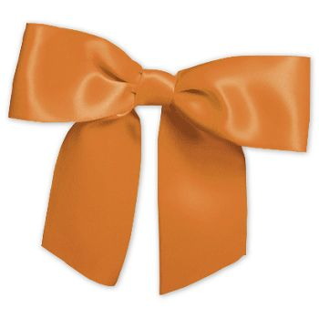 "Orange Pre-Tied Satin Bows, 7/8"" Ribbon x 3"" Bow Width"