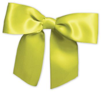 Lime Pre-Tied Satin Bows, 7/8