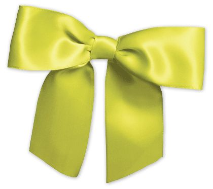 "Lime Pre-Tied Satin Bows, 7/8"" Ribbon x 3"" Bow Width"
