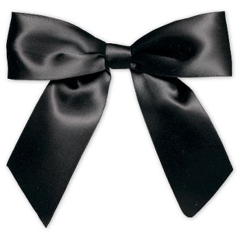 Black Pre-Tied Satin Bows, 7/8