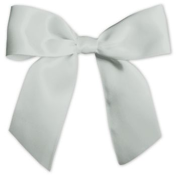 "Silver Pre-Tied Satin Bows, 7/8"" Ribbon x 3"" Bow Width"