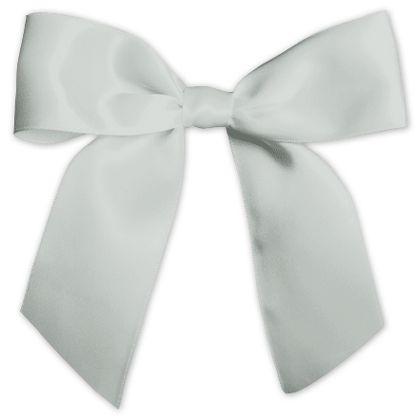 "Silver Pre-Tied Satin Bows, 7/8"" Ribbon x 3"" Bow Width"