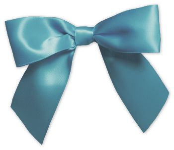 Turquoise Pre-Tied Satin Bows, 7/8