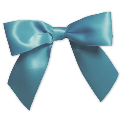 "Turquoise Pre-Tied Satin Bows, 7/8"" Ribbon x 3"" Bow Width"