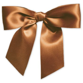 Chocolate Pre-Tied Satin Bows, 7/8