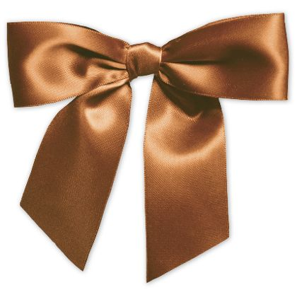 "Chocolate Pre-Tied Satin Bows, 7/8"" Ribbon x 3"" Bow Width"