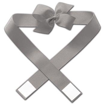 """Grey Primo Pre-Tied Bows, 4"""" Bow"""