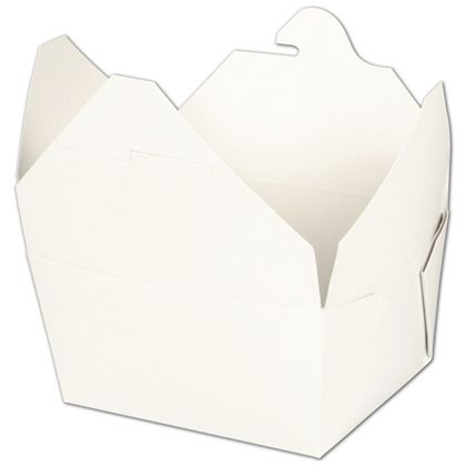 """BIOPAK(r) White Food Containers, 5 x 4 1/2 x 2 1/2"""""""