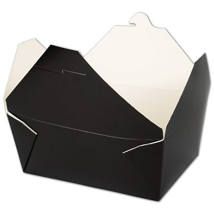 "BIOPAK(r) Black Food Containers, 7 3/4 x 5 1/2 x 3 1/2"""