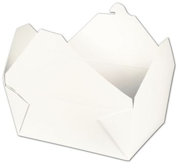 BIOPAK(r) White Food Containers, 7 3/4 x 5 1/2 x 3 1/2