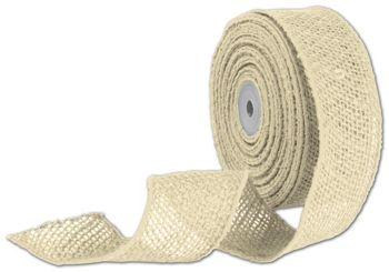 Ivory Wired Burlap Ribbon, 2