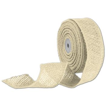 Ivory Wired Burlap Ribbon, 2