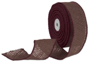 Brown Wired Burlap Ribbon, 2