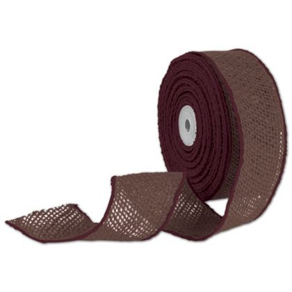 "Brown Wired Burlap Ribbon, 2"" x 10 Yds"