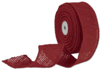 "Red Wired Burlap Ribbon, 2"" x 10 Yds"