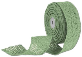 Green Wired Burlap Ribbon, 2