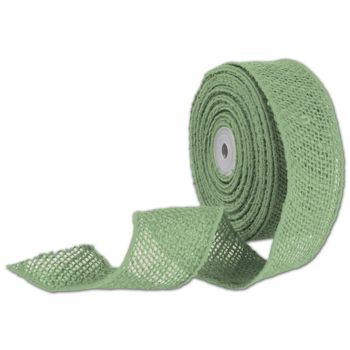 "Green Wired Burlap Ribbon, 2"" x 10 Yds"