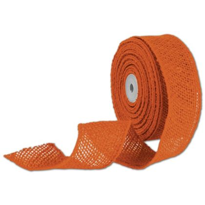 "Orange Wired Burlap Ribbon, 2"" x 10 Yds"