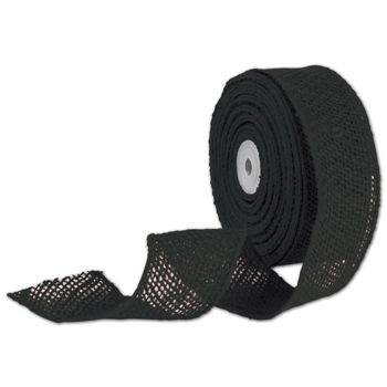 Black Wired Burlap Ribbon, 2