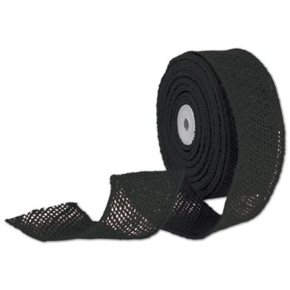 "Black Wired Burlap Ribbon, 2"" x 10 Yds"