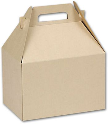 Natural Kraft Large Gable Boxes, 9 x 6 x 6
