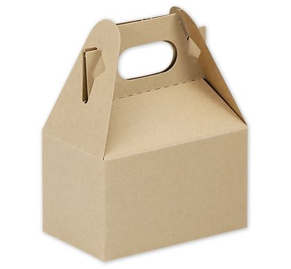 Natural Kraft Mini Gable Boxes, 4 x 2 1/2 x 2 1/2""