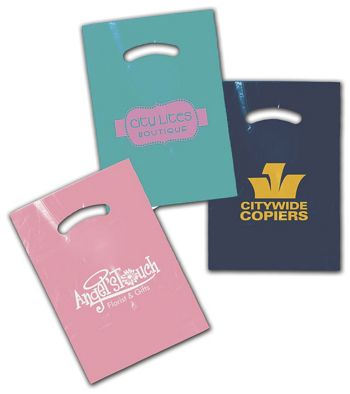 Colored Die-Cut Plastic Bags, Custom Printed, 9 x 12