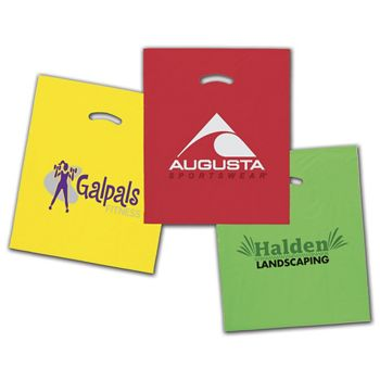 Colored Die-Cut Plastic Bags, Custom Printed, 15x18