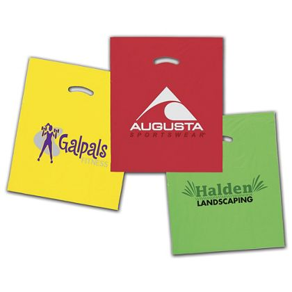 "Colored Die-Cut Plastic Bags, Custom Printed, 15x18""+4"" BG"