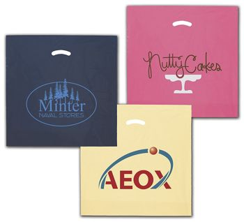Colored Die-Cut Plastic Bags, Custom Printed, 20x20
