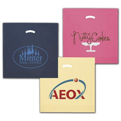 "Colored Die-Cut Plastic Bags, Custom Printed, 20x20""+5"" BG"