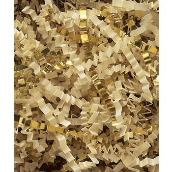 French Vanilla/Gold Metallic Crinkle Cut Blend Fill, 40 lb