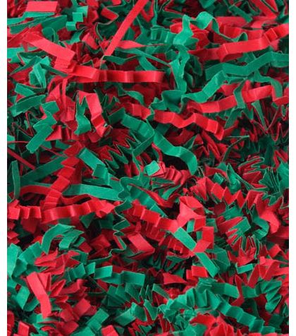 Red and Green Blend Crinkle Cut Fill, 40 lb Box