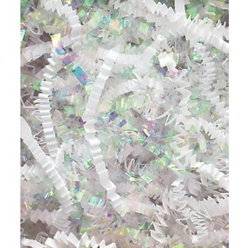 White & Iridescent Metallic Crinkle Cut Blend Fill, 40 lb
