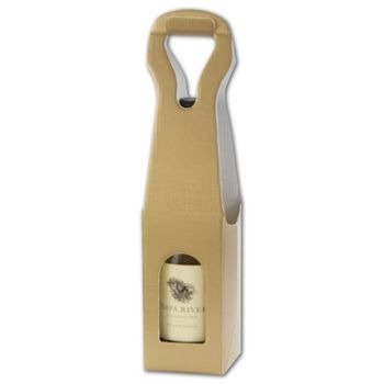 Gold Embossed 1 Wine Bottle Carriers, 3 1/2 x 3 1/2 x 13