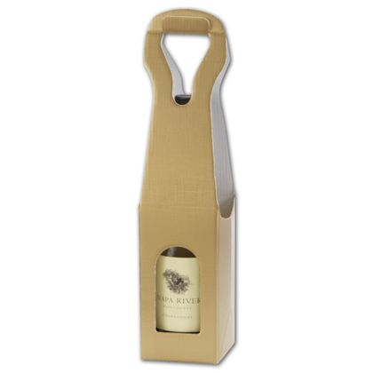 """Gold Embossed 1 Wine Bottle Carriers, 3 1/2 x 3 1/2 x 13"""""""