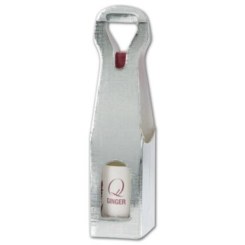 Silver Embossed 1 Wine Bottle Carriers, 3 1/2x3 1/2x13