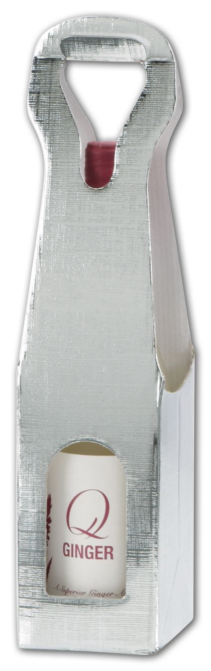 Silver Embossed 1 Wine Bottle Carriers, 3 1/2x3 1/2x13""