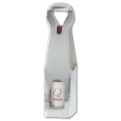 """Silver Embossed 1 Wine Bottle Carriers, 3 1/2x3 1/2x13"""""""