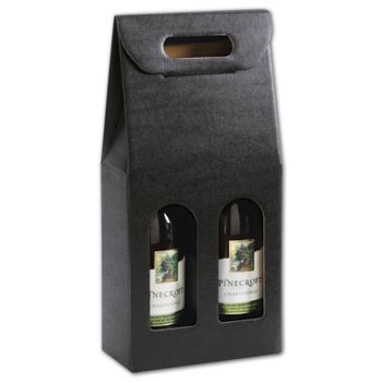 Black Embossed 2 Wine Bottle Carriers, 7 x 3 1/2 x 15 3/4