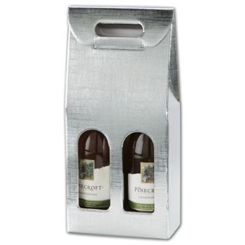 Silver Embossed 2 Wine Bottle Carriers, 7x3 1/2x15 3/4