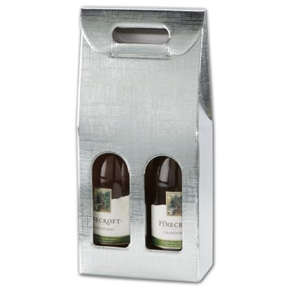 Silver Embossed 2 Wine Bottle Carriers, 7x3 1/2x15 3/4""