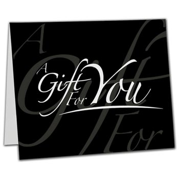 "Black Italic Gift Card Carriers, 6 1/2 x 4"" Flat"