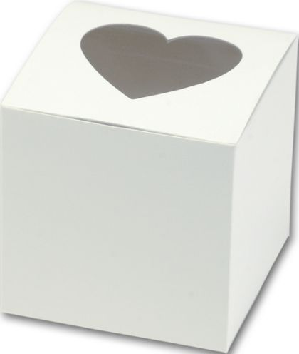 "Heart Window Cupcake Boxes, 3 x 3 x 3"""