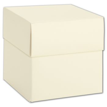 Ivory Shimmer Two-Piece Cupcake Boxes, 4 x 4 x 4