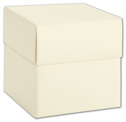 Ivory Shimmer Two-Piece Cupcake Boxes, 4 x 4 x 4""